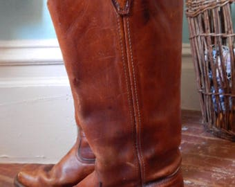 VTG 1970'S hippie Tobacco Leather stacked Campus Boots SIZE 8 Rugged Boho moto