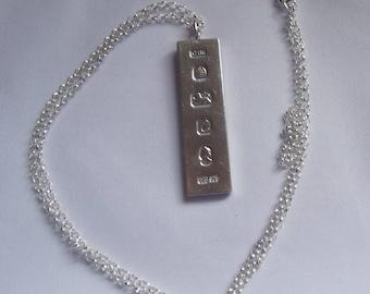 1977 Silver Jubilee Sterling Silver Oblong Ingot and Chain