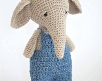 Amigurumi Crochet Elephant Stuffed Animal Toy Plush Childrens Gift Ready To Ship
