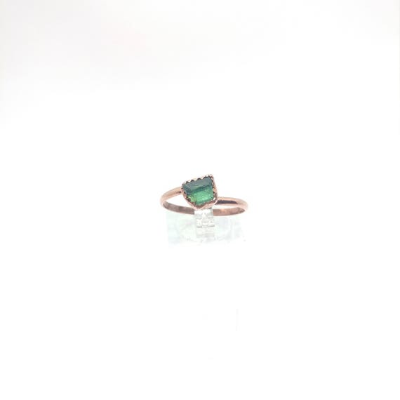 Raw Tourmaline Ring | Raw Crystal Ring | Copper Ring Sz 10.25 | Rough Tourmaline | Green Tourmaline Crystal | Post Apocalyptic Clothing