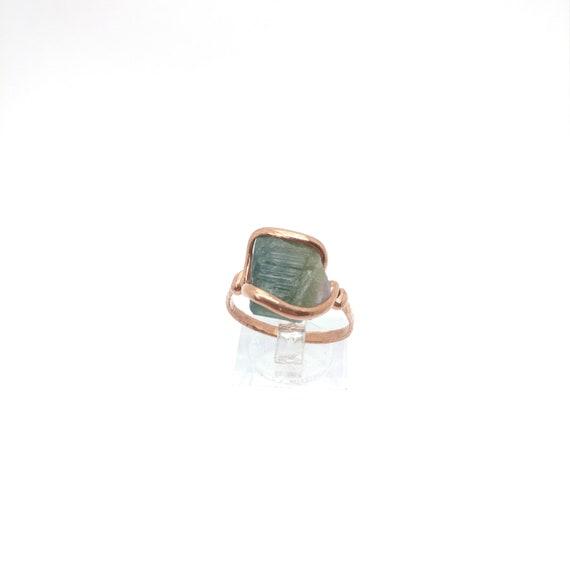 Green Tourmaline Crystal Ring | Copper Ring Sz 10 | Rough Tourmaline Ring | Raw Tourmaline Ring | Rustic Mens Ring | October Birthstone Ring