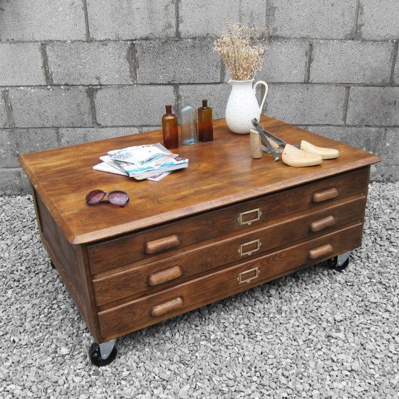 Architects Plan Chest Drawers Coffee Table Industrial Map Art Storage