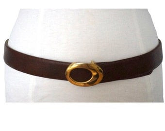 Vintage Brown Leather Belt with Gold Tone Oval Buckle, Made in Spain