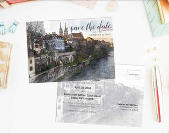 Digital Printable Set Save the Date Postcard Destination Wedding Basel Switzerland Europe Watercolor Wedding Invitation Map Card ID849