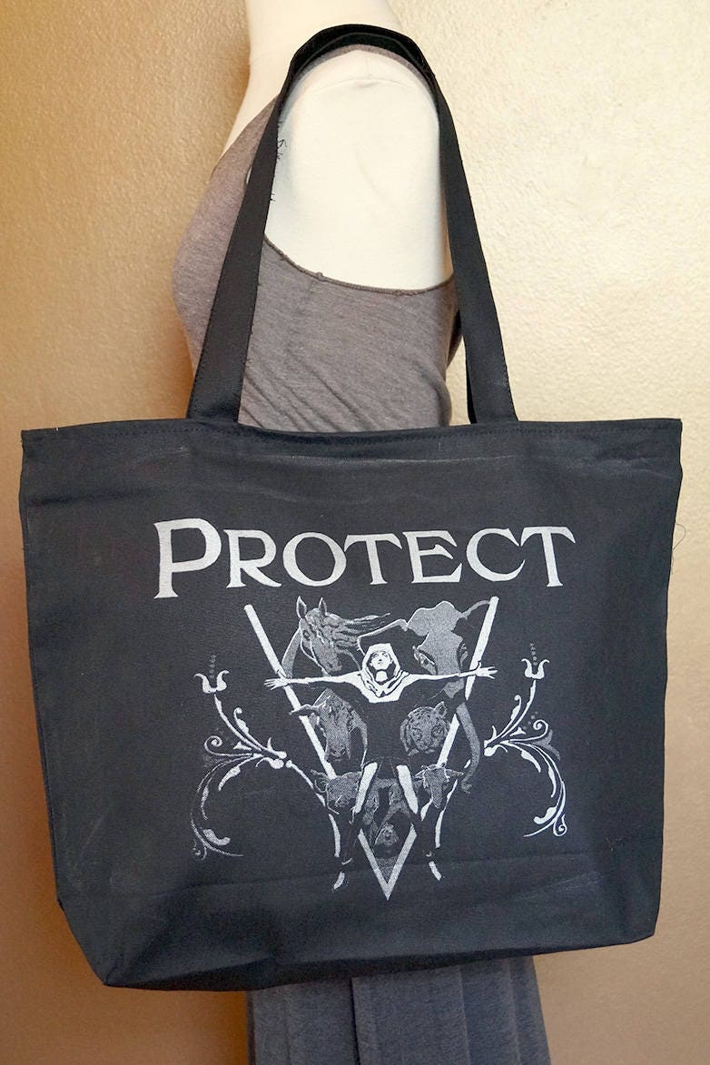 "Zippered Tote Bag ""Protect"" Silver Ink on Black Cotton"