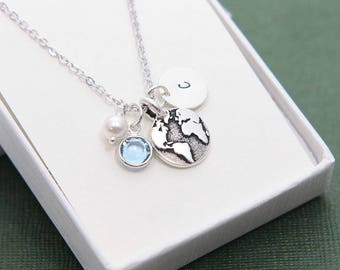 Globe Necklace, World Globe Necklace, Travel Necklace, Personalized Necklace, Initial Necklace, Wanderlust Necklace, Birthstone Necklace