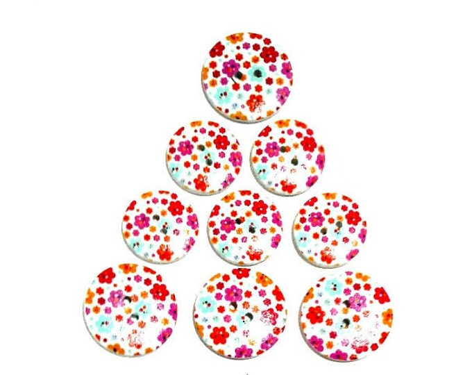 9 Assorted Mixed Floral Wooden Buttons featuring flowers in orange and hot pink