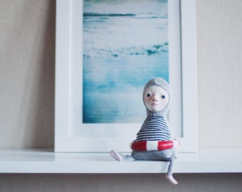 Swimmer art doll - sea inspired doll, art dolls, seascape art, navy style decor, nautical decor, beach decor, swimmer gift, ocean lover gift