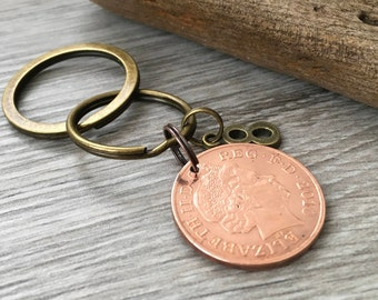 8th anniversary gift, 2010 coin keyring, keychain, wedding, bronze eighth anniversary, Married in 2010 present for him, her, man, wife woman