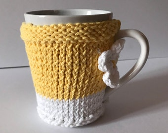 Hand Knit Flower Cozy and Ceramic Mug