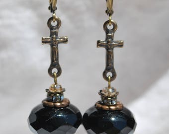 Bronze Crucifix Earrings with Firepolished Black Beads