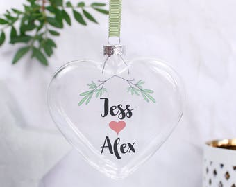 Christmas Bauble For Couples - Personalised Bauble - Couples Bauble - Christmas Bauble - Mistletoe Decoration - Bauble For Her -