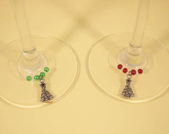 Christmas trees set of 6 Wine Glass Charms - wine lovers gift, stocking filler,