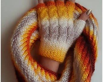 Neck Warmer, Gloves Set, Fingerless Gloves,Handmade Knitted colored,   Acrylic Yarn, Warm and Stylish,Neckwarmer Scarf,