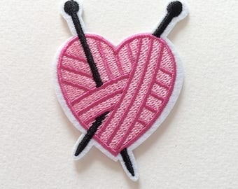 Pink Heart Ball of Yarn Embroidered Iron On Patches - 72mm - Knitting Needles - Knitting Enthusiast - DIY