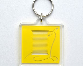 Needle and Thread Icon Keychain Accessory Charm