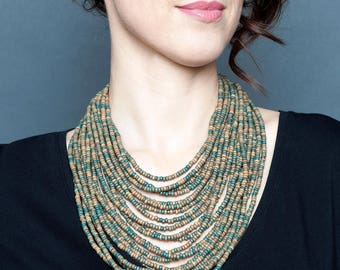 Long beaded necklace woman-Long ethnic necklace-Ethic statement-Ukraine statement-Green necklace woman-Long layered jewelry-Ukraine