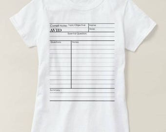 AVID Cornell Notes Graphic© T-shirt. Perfect for heading back to school! Fun and Unique Gift for Your Favorite Teacher and Student!