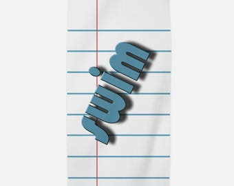 Notebook Paper Graphic Super Plush Beach Towel - 30 x 40 inches - Fun and Unique Gift for Your Favorite Teacher and Student
