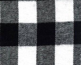 White black buffalo plaid - Christmas flannel fabric farmhouse fabric