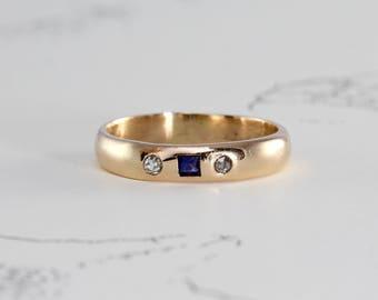 Antique Sapphire & Diamond Wedding Band, 14k Yellow Gold Stacking Engagement Ring, French Cut Sapphire Mine Cut Diamonds