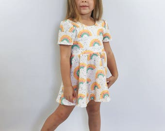 Rainbow Toddler Twirl Dress, RAINBOW SHERBET Mini Vintage Style Dress and Bloomers Set