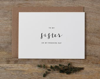 To My Sister On My Wedding Day Card - To My Sister Wedding Card, Wedding Stationery, To My Sister Thank You Wedding Card, Wedding Note, K4