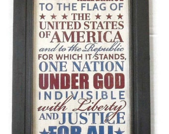 The Pledge of Allegiance, American Wall Decor, Home Decor, Patriotic Print, Art Print, Handmade, 19x11, Custom Wood Frame, Made in the USA