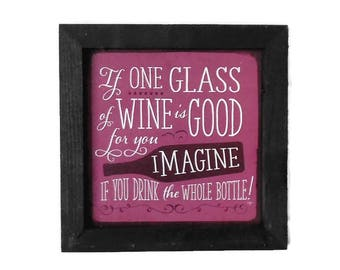"""Four 7"""" X 7"""" Wine Lovers Art, Grab Bag, Wine Art, Framed Signs, 4 Different Signs, Art Prints, Handmade, Real Wood Frames, Made in USA"""