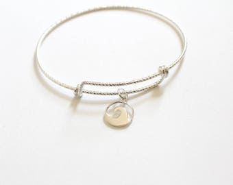 Sterling Silver Bracelet with Sterling Silver Wave Charm, Bracelet with Silver Wave Pendant, Wave Charm Bracelet, Wave Bracelet, Wave Charm