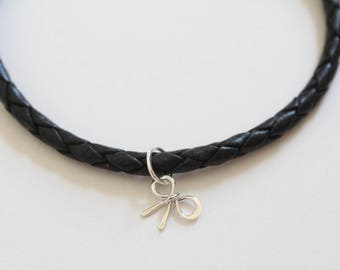 Leather Bracelet with Sterling Silver Bow Charm, Bow Bracelet, Bow Charm Bracelet, Silver Bow Bracelet, Silver Bow Charm Bracelet, Bow Charm