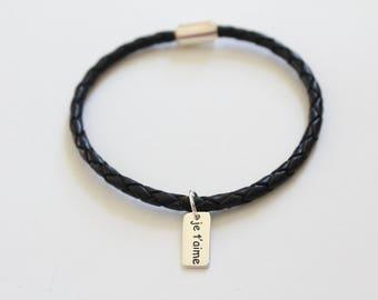 Leather Bracelet with Sterling Silver Je T'aime Charm, Je T'aime Bracleet, Je T'aime Charm Bracelet, Je T'aime Pendant Bracelet, I Love You