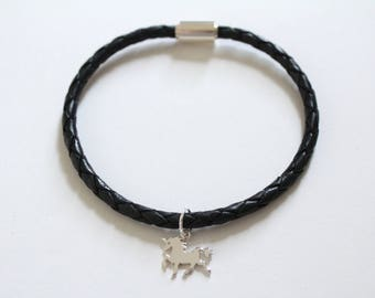 Leather Bracelet with Sterling Silver Unicorn Charm, Unicorn Bracelet, Unicorn Charm Bracelet, Unicorn Pendant Bracelet, Silver Unicorn