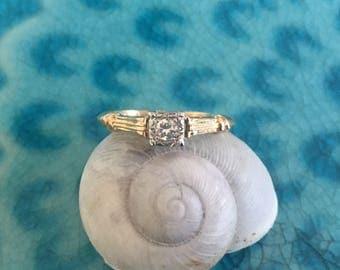 Mid Century Diamond Engagement Ring 0.06 cts Old European Cut Diamond Set in 14k Yellow & White Gold - JL816