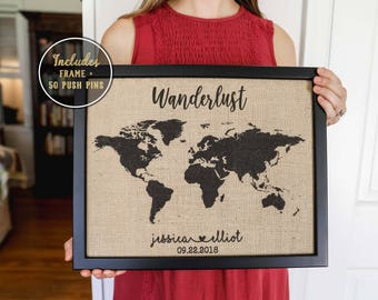 Travel map etsy world push pin map wanderlust map poster on burlap push pin travel map gumiabroncs Gallery