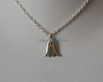 Small Silver Ghost Charm Necklace on Silver Crossed Chain or Black Faux Suede Cord. Cute, Halloween, Costume, Dainty, Spook