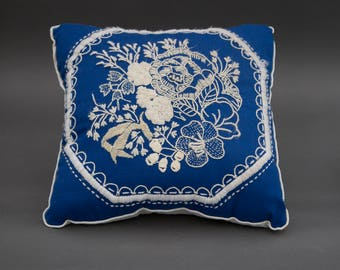 Vintage Blue and White Embroidered Accent Pillows PAIR