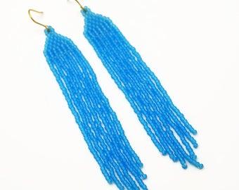 Long Blue Earrings, Blue Beaded Shoulder Skimmers, Bright Blue Earrings, Artisan Beaded Earrings, Blue Jewelry, Azure Blue Long Beaded