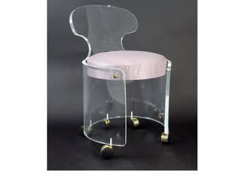 Mid Century Modern Charles Hollis Jones Lucite Brass Swivel Vanity Chair 1970s