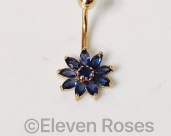 585 14k Yellow Gold Blue Sapphire Naval Belly Button Ring New, Old Stock
