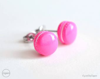 Hot Pink French Macaron Stud Earrings - Faux Food Earrings - Polymer Clay Miniature Food Jewelry