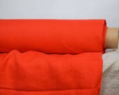 Linen fabric. Pure 100% linen 190gsm. Very bright vibrant orange-red (so called Safety Orange). Medium weight, dense, washed-softened.