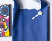Bag Pocket worn blue leather shoulder tote bag, tote bag, designer bag