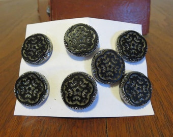 7 vintage Victorian 1800s 1890s black glass buttons silver luster star flower snowflake metal shank (123010)