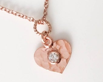Rose gold Heart Necklace - Rose Gold Diamond Pendant -  Heart Charm Necklace - Rose Gold Necklaces - Everyday Necklace I love You Gift -