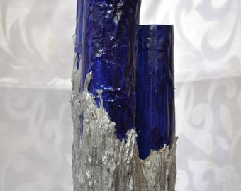 Vase/Decor in Blue and Silver, OOAK, Upcycled Materials