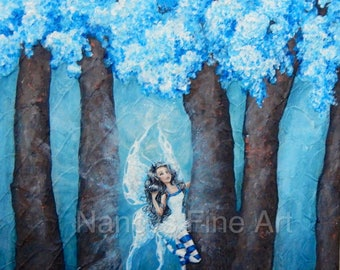 Original  blue fairy artwork available on stretched canvas and fine art paper by artist, Nancy Quiaoit.