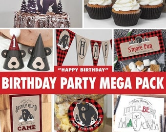 SALE Birthday Party Mega Pack - Baby Bear Lumberjack / INSTANT DOWNLOAD / Birthday Decoration / First Birthday / Black Bear / Printable bp09