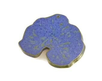 Hollyhock Leaf dish - pottery - midnight rain leaf - ring dish - spoon rest - fall leaf - stargazer dish