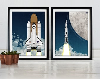Space Poster Apollo Rocket and Space Shuttle Space Race Moon Landing Poster Wall Art Hanging Print Home Décor NASA spaceship